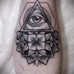 тату всевидящее око в треугольнике значение - фото пример классной татуировки от 14072016 2