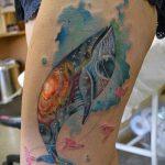 тату кит акварель - фото вариант готовой татуировки от 14072016 3