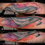 тату кит в космосе - фото вариант готовой татуировки от 14072016 1