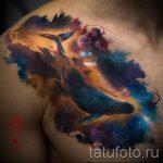 тату кит в космосе - фото вариант готовой татуировки от 14072016 3