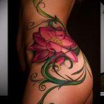 тату лилия на бедре - фото пример татуировки от 13072016 2