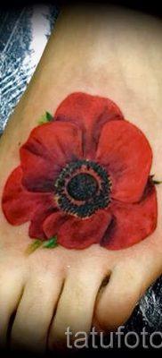 тату мак на ноге – фото для статьи про значение татуировки 4