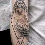 тату сова в треугольнике - фото пример классной татуировки от 14072016 2