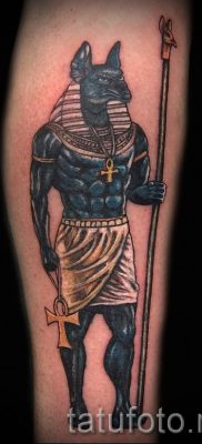 Anubis tattoo on his arm  2