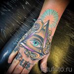 Eye Tattoo Berg im Dreieck - Foto Beispiel eines kühlen Tätowierung auf 14072016 2
