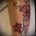 Lilie Tattoo auf seinem Bein - Foto Beispiel der Tätowierung 13072016 2