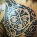 Polynésie soleil tatouage - une photo du tatouage fini sur la classe 14072016 1