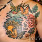 Sonne Tätowierung auf seiner Brust - ein kühles Foto des fertigen Tätowierung 14072016 4