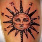 Sonne Tattoo auf seinem Bein - ein kühles Foto des fertigen Tätowierung 14072016 4