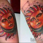 Sonne mit einem Gesicht Tattoo - ein cooles Foto des fertigen Tätowierung auf 14072016 1