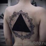 Tattoo-Dreieck auf der Rückseite - Foto Beispiel eines kühlen Tätowierung auf 14072016 1