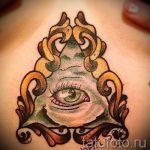 Tattoo-Dreieck mit einem Auge - Foto Beispiel eines kühlen Tätowierung auf 14072016 1