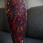 Tattoo-Gott der Sonne - ein kühles Foto des fertigen Tätowierung auf 14072016 1