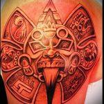 Tattoo Sonne Azteken - ein kühles Foto des fertigen Tätowierung auf 14072016 2