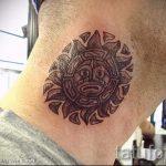 soleil tatouage sur son cou - une photo fraîche du tatouage fini 14072016 2