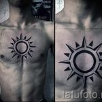 sun tattoo on his chest - a cool photo of the finished tattoo 14072016 3