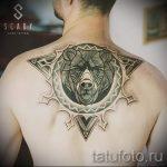 tatouage d'ours dans le triangle - Photo exemplaire d'un tatouage frais sur 14072016 2