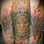 tatouage soleil Aztèques - une photo fraîche du tatouage fini sur 14072016 2