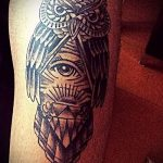 tattoo owl in a triangle - Photo example of a cool tattoo on 14072016 2