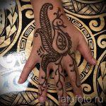 мехенди на руке перо птиц - фото временной тату хной 6402 tatufoto.ru