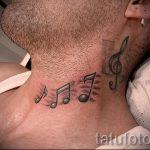 тату ноты на шее - фото готовой татуировки от 02082016 15186 tatufoto.ru