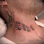 тату ноты на шее - фото готовой татуировки от 02082016 7178 tatufoto.ru
