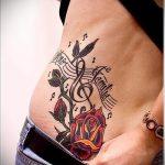 тату ноты розы - фото готовой татуировки от 02082016 4201 tatufoto.ru