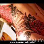 тату ноты розы - фото готовой татуировки от 02082016 5202 tatufoto.ru