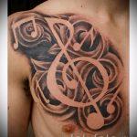 тату ноты скрипичный ключ - фото готовой татуировки от 02082016 2204 tatufoto.ru