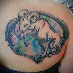 тату овен акварель - фото готовой татуировки от 02082016 4068 tatufoto.ru