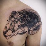 тату овна на плече - фото готовой татуировки от 02082016 3120 tatufoto.ru