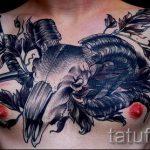 череп овен тату - фото готовой татуировки от 02082016 10134 tatufoto.ru