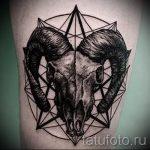 череп овен тату - фото готовой татуировки от 02082016 11135 tatufoto.ru