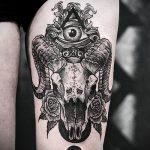череп овен тату - фото готовой татуировки от 02082016 2126 tatufoto.ru