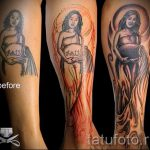 Aquarius tattoo on his leg - a photo - an example of the finished tattoo 01082016 3034 tatufoto.ru