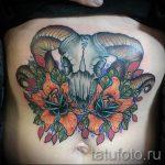 RAM-Schädel Tattoo - ein Foto des fertigen Tätowierung auf 02082016 2041 tatufoto.ru