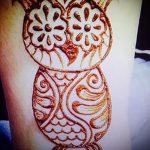 mehendi Eule auf seinem Bein - die Möglichkeiten der temporären Henna-Tattoo auf 05082016 2060 tatufoto.ru