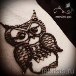 mehendi hibou sur sa jambe - les options de tatouage au henné temporaire sur 05082016 1067 tatufoto.ru
