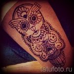 mehendi owl on his leg - the options of temporary henna tattoo on 05082016 1086 tatufoto.ru
