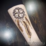 mehendi sur la main Dreamcatcher - Photo henné temporaire tatouage 1145 tatufoto.ru