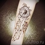 mehendi sur la main Dreamcatcher - Photo henné temporaire tatouage 2146 tatufoto.ru