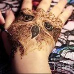mehendi sur un hibou de la main - photo henné tatouage temporaire 1173 tatufoto.ru