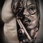 тату девочка с пистолетом - фото готовой татуировки 01092016 3077 tatufoto.ru