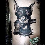тату доберман с пистолетом - фото готовой татуировки 01092016 2083 tatufoto.ru