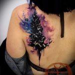 тату космос акварель - фото готовой татуировки 19110 tatufoto.ru