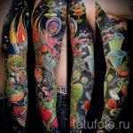 тату космос рукав - фото готовой татуировки 22162 tatufoto.ru