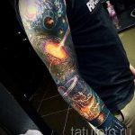 тату космос рукав - фото готовой татуировки 30170 tatufoto.ru