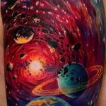 тату космос рукав - фото готовой татуировки 33173 tatufoto.ru