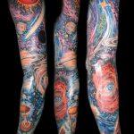 тату космос рукав - фото готовой татуировки 34174 tatufoto.ru