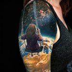 тату космос рукав - фото готовой татуировки 39179 tatufoto.ru